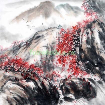 Красный клен в горах