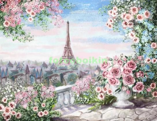 Фотообои Париж в цветах рисунок