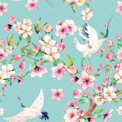 Фотообои Аисты и цветы