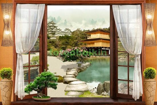 Фотообои Окно с видом на японский сад