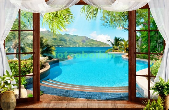 Фотообои Окно с видом на бассейн