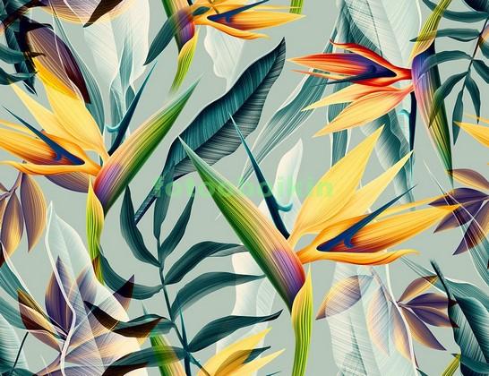 Фотообои Трипический узор с цветами