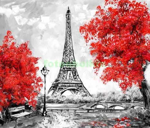 Фотообои Париж рисунок осень