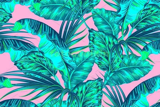 Фотообои Тропики на розовом фоне