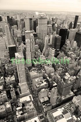 Фотообои Нью-Йорк с высоты в ч.б