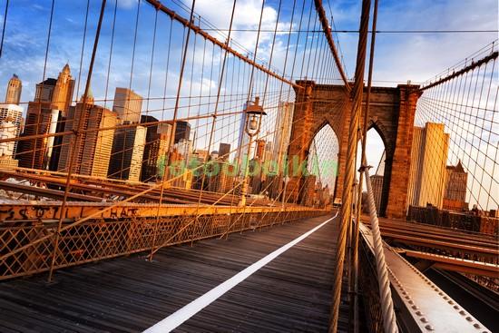 Бруклинский мост оранжевый закат