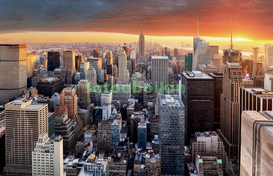 Фотообои Нью-Йорк закат оранжевый