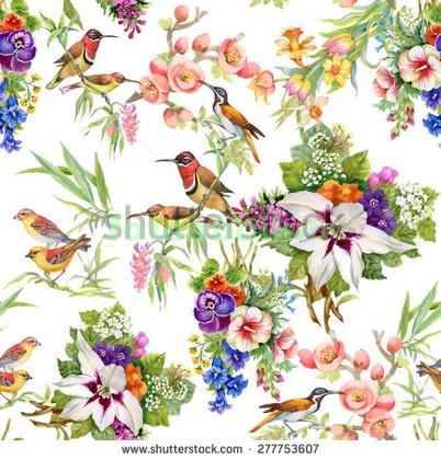 Фотообои Узор цветы и птицы