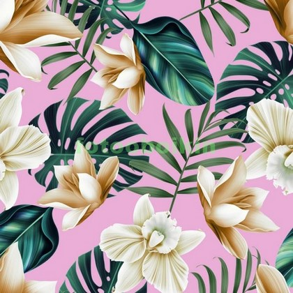 Фотообои Цветы на розовом фоне