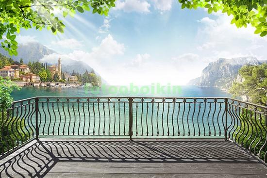 Фотообои Терраса у голубого озера