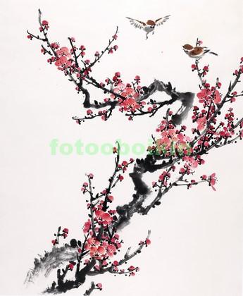 Фотообои Сакура с воробушками