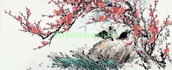 Фотообои Сакура камень и птицы