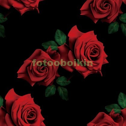 Фотообои 3D розы на черном фоне