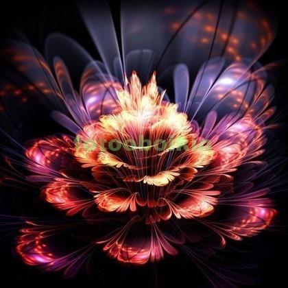 Фотообои 3D цветок на черном фоне