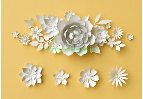 Фотообои 3D цветы на желтом фоне