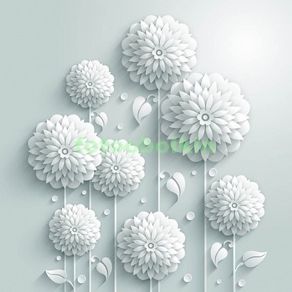 Фотообои 3D белые цветы