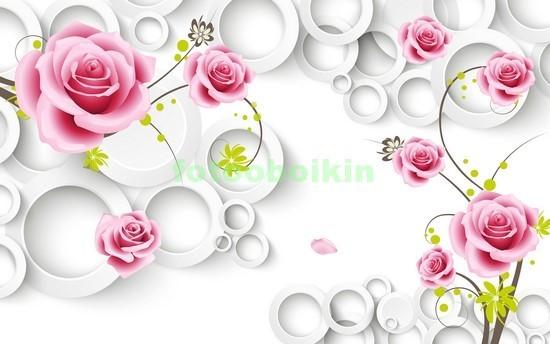 Фотообои 3D розы с кругами
