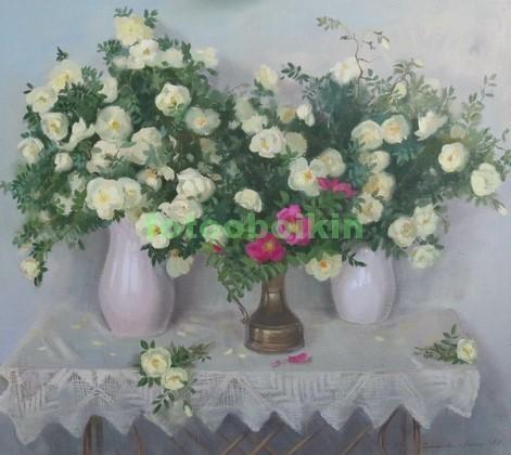 Фотообои Картина белые розы