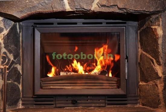 Фотообои камин с огнем