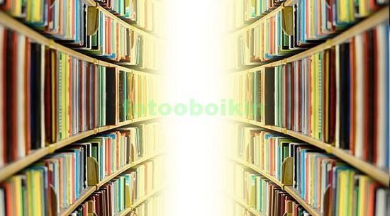 Фотообои Длинные полки с книгами