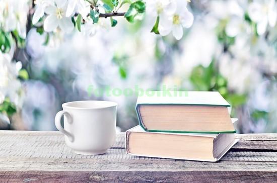 Фотообои Книга с чашкой чая