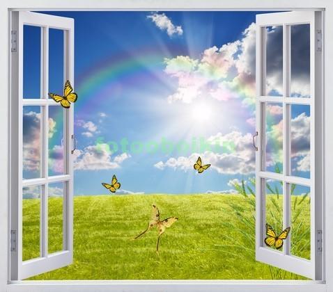 Фотообои Окно с видом на поле с бабочками