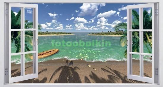 Фотообои Окно с видом на берег пляжа