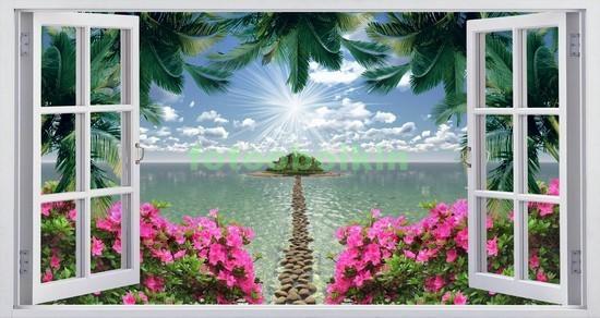 Фотообои Окно с видом на море и пальмы