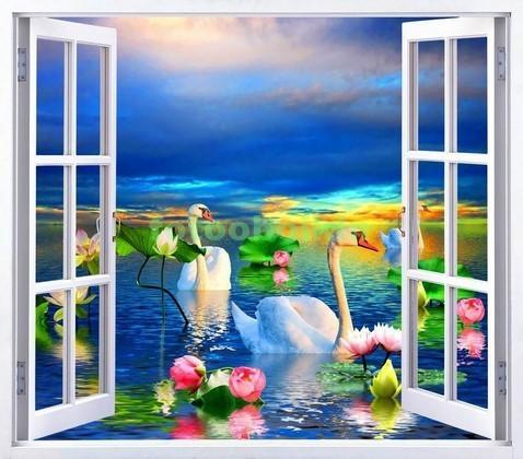 Фотообои Окно с видом на озеро с лебедем