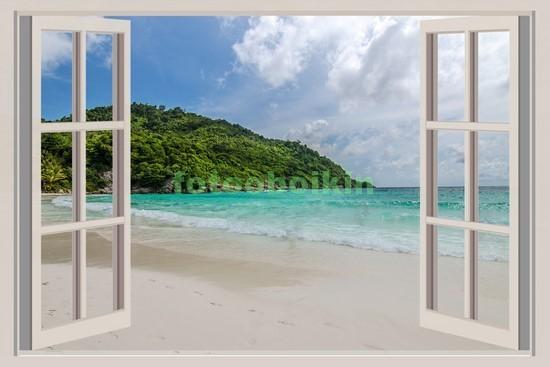 Фотообои Окно с видом на райский пляж