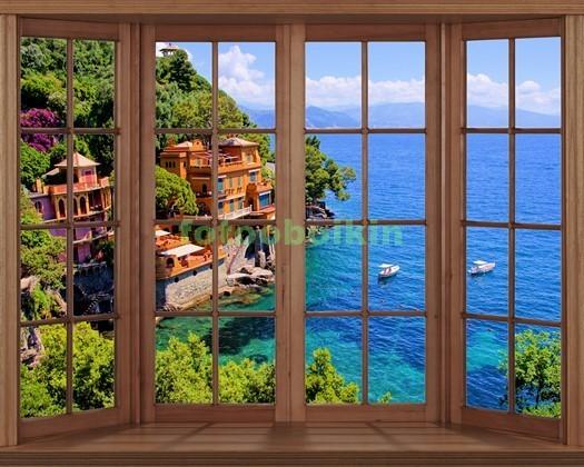 Фотообои Окно с видом на виллу у моря