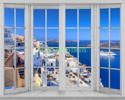 Фотообои Окно с видом на Санторини
