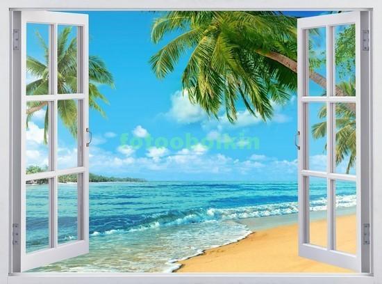 Фотообои Окно с видом на пальмы и пляж