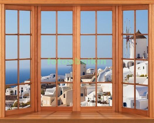 Фотообои Окно с видом на Санторини утором