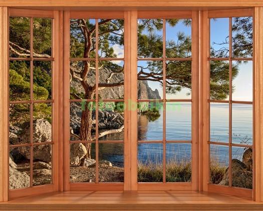 Фотообои Окно с видом на сосну