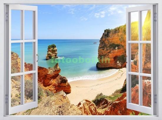 Фотообои Окно с видом на пляж и скалами