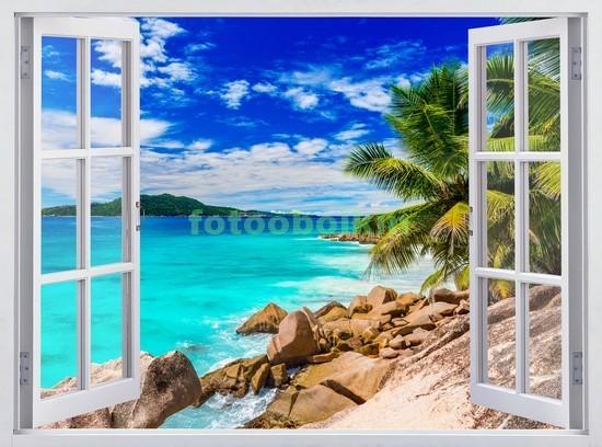 Фотообои Окно с видом на каменистый пляж