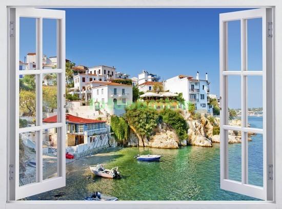 Фотообои Окно с видом на берег Греции
