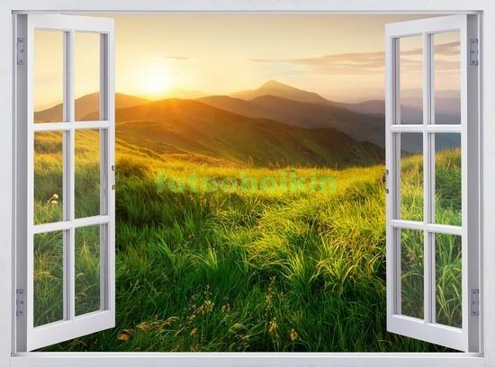 Фотообои Окно с видом на закат в горах