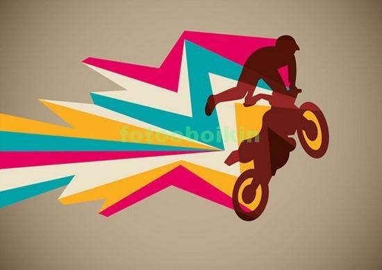 Фотообои Абстракция мотоциклист