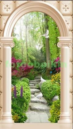 Фотообои Арка колонны в саду