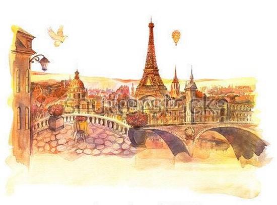 Фотообои Париж акварель