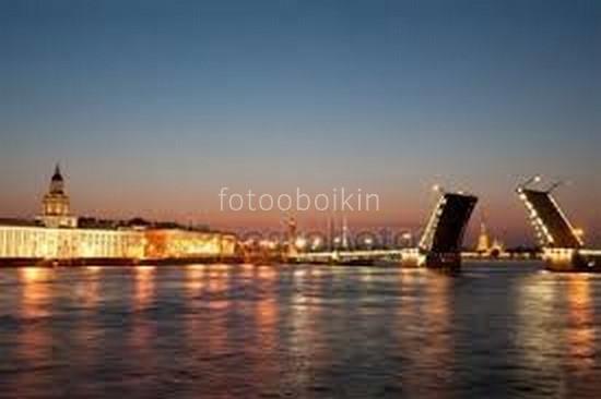 Фотообои Разведенные мосты ночью