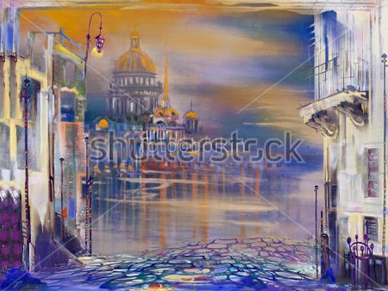 Фотообои Рисунок пастелью Петербурга