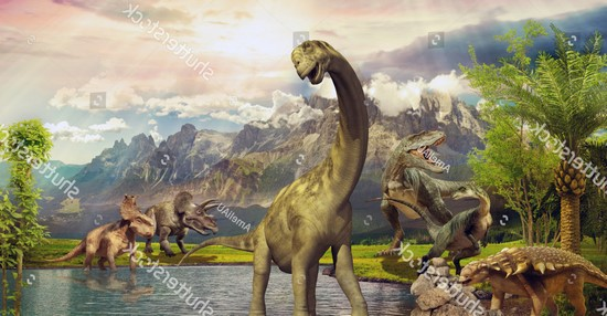 Фотообои Динозавр у озера
