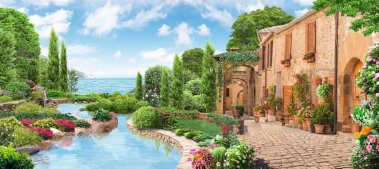 Фотообои Кирпичные домики с водоемом