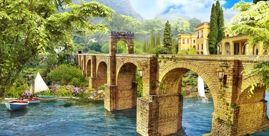 Фотообои Мост кирпичный в сад