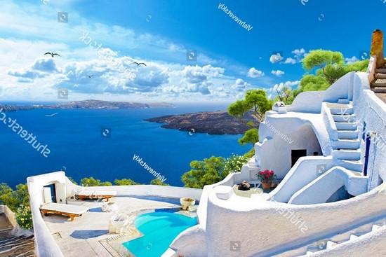 Фотообои Санторини и бирюзовый бассейн