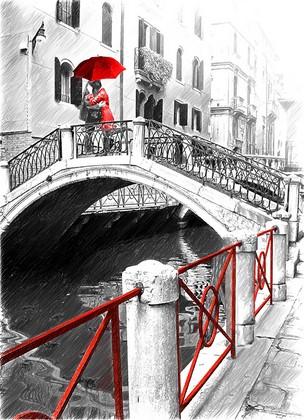 Фотообои Венеция и зонтик красный