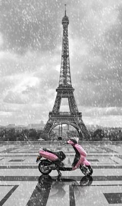 Фотообои Эйфелевая башня с мопедом